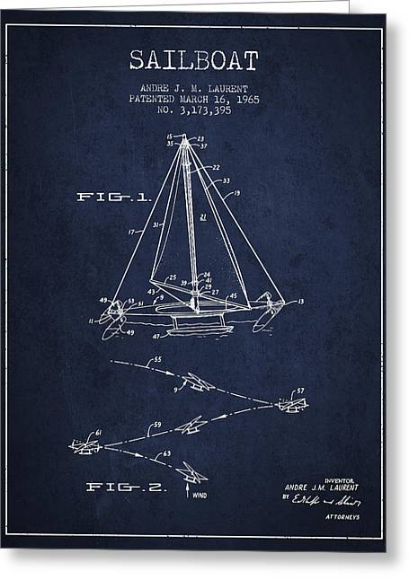 Sailboat Art Greeting Cards - Sailboat Patent from 1965 - Navy Blue Greeting Card by Aged Pixel