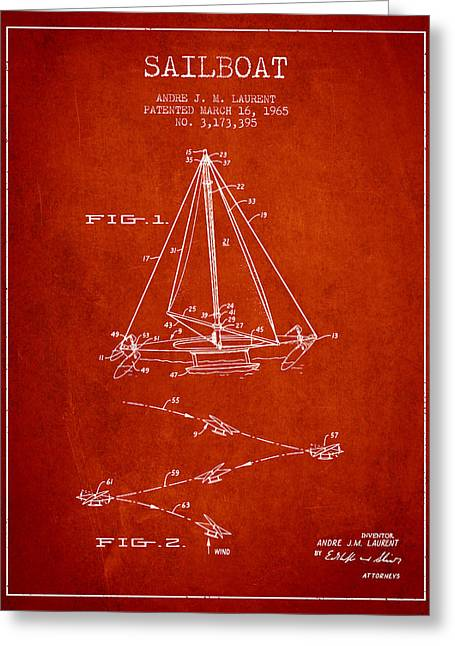 Sailboat Art Greeting Cards - Sailboat Patent from 1965 - Red Greeting Card by Aged Pixel