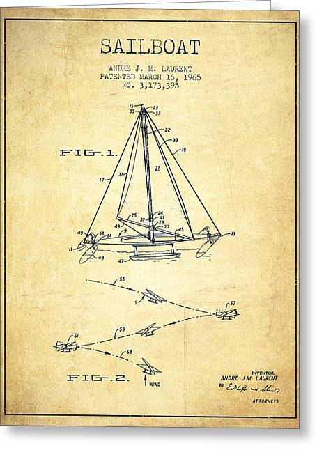 Sailboat Art Greeting Cards - Sailboat Patent from 1965 - Vintage Greeting Card by Aged Pixel