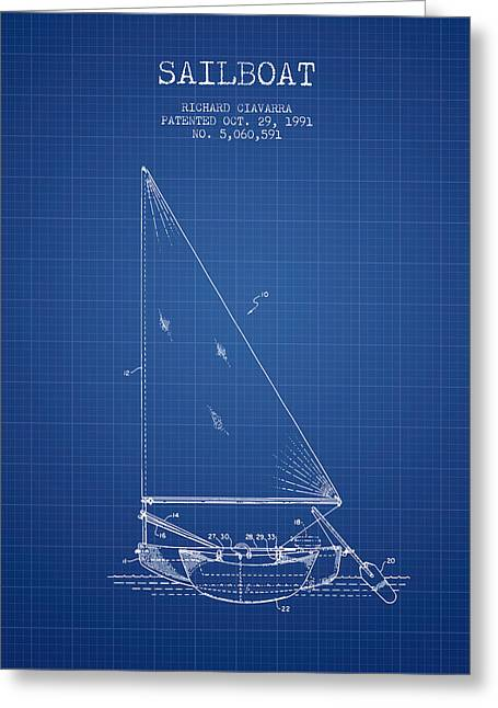 Sailboat Art Greeting Cards - Sailboat Patent from 1991- Blueprint Greeting Card by Aged Pixel