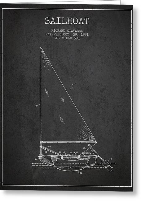 Sailboat Art Greeting Cards - Sailboat Patent from 1991- Dark Greeting Card by Aged Pixel