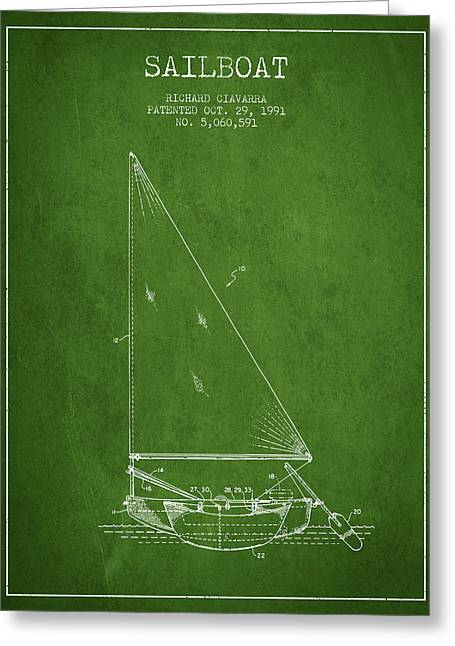 Sailboat Art Greeting Cards - Sailboat Patent from 1991- Green Greeting Card by Aged Pixel