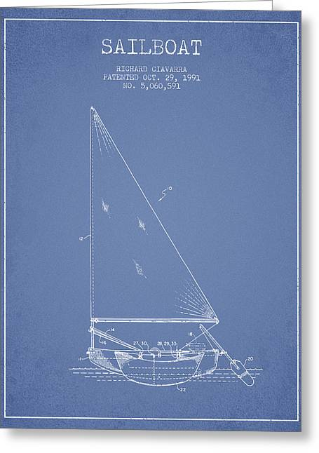 Sailboat Art Greeting Cards - Sailboat Patent from 1991- Light Blue Greeting Card by Aged Pixel