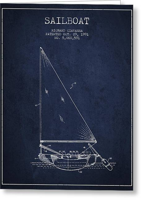 Sailboat Art Greeting Cards - Sailboat Patent from 1991- Navy Blue Greeting Card by Aged Pixel