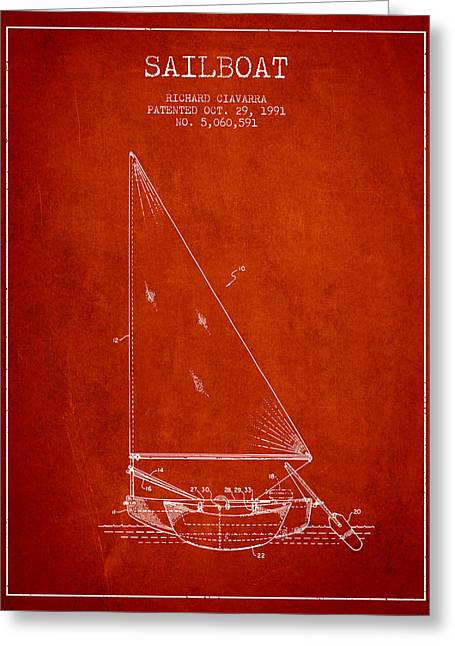 Sailboat Art Greeting Cards - Sailboat Patent from 1991- Red Greeting Card by Aged Pixel