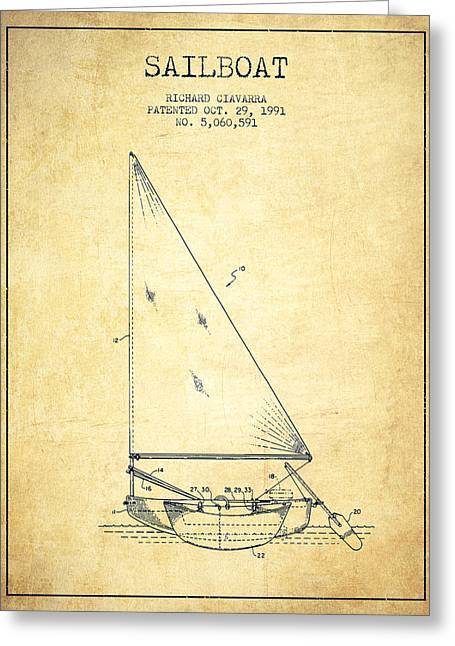 Sailboat Art Greeting Cards - Sailboat Patent from 1991- Vintage Greeting Card by Aged Pixel