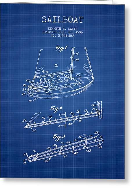 Sailboat Art Greeting Cards - Sailboat Patent from 1996 - Blueprint Greeting Card by Aged Pixel