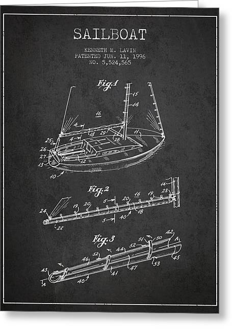 Sailboat Art Greeting Cards - Sailboat Patent from 1996 - Dark Greeting Card by Aged Pixel
