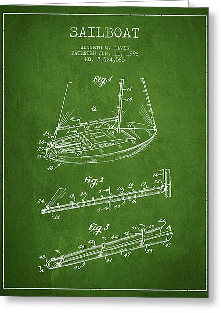 Sailboat Art Greeting Cards - Sailboat Patent from 1996 - Green Greeting Card by Aged Pixel