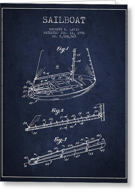 Sailboat Art Greeting Cards - Sailboat Patent from 1996 - Navy Blue Greeting Card by Aged Pixel