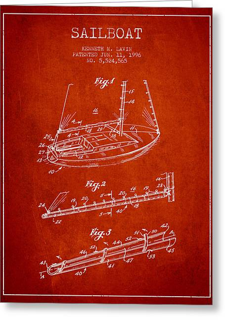 Sailboat Art Greeting Cards - Sailboat Patent from 1996 - Red Greeting Card by Aged Pixel
