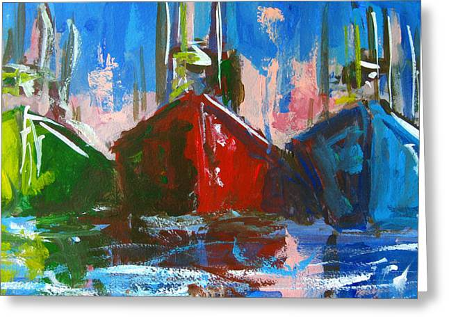 Wooden Ship Paintings Greeting Cards - Sailboat Greeting Card by Patricia Awapara