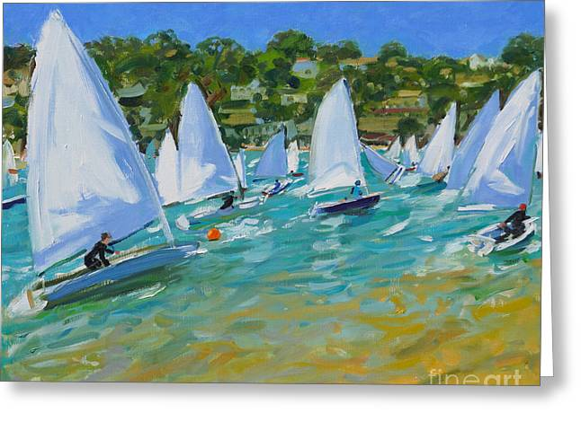 Blue Green Water Greeting Cards - Sailboat Race Greeting Card by Andrew Macara