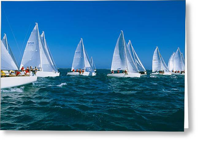 Water Vessels Greeting Cards - Sailboat Racing In The Ocean, Key West Greeting Card by Panoramic Images