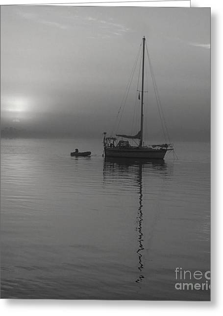 Sailboat Images Greeting Cards - Sailboat Reflection In Black And White Greeting Card by Bob Sample