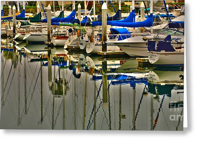 Docked Sailboats Greeting Cards - Sailboat Reflections Greeting Card by Cheryl Young