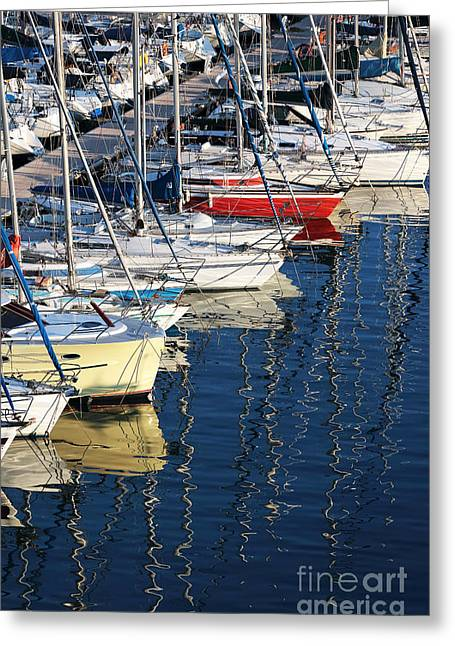 Yellow Sailboats Greeting Cards - Sailboat Reflections Greeting Card by John Rizzuto