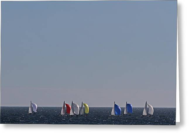 Sailboat Photos Greeting Cards - Sailboat Regatta Off the Coast in Newport Rode Island Greeting Card by Juergen Roth