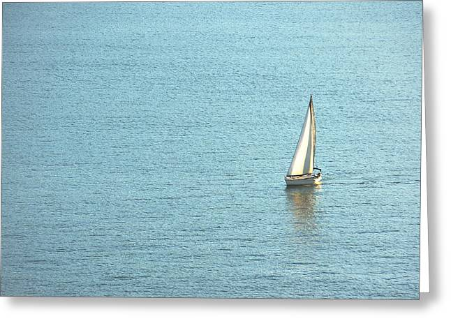 One Sailboat Greeting Cards - Sailboat Sailing On Water Greeting Card by Mikel Martinez de Osaba