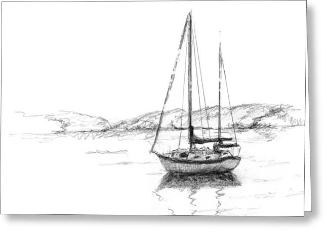Residential Drawings Greeting Cards - Sailboat Greeting Card by Sarah Parks