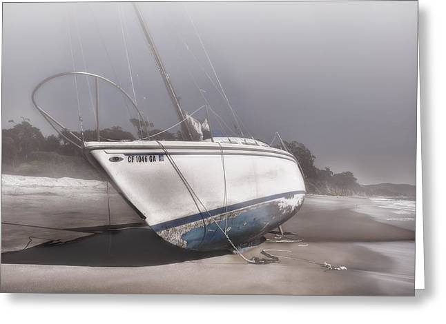 Beach In Santa Barbara Greeting Cards - Sailboat Shipwreck in the Fog Greeting Card by Ken Smith