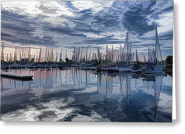 Gloaming Greeting Cards - Sailboat Summer Impressions Greeting Card by Georgia Mizuleva