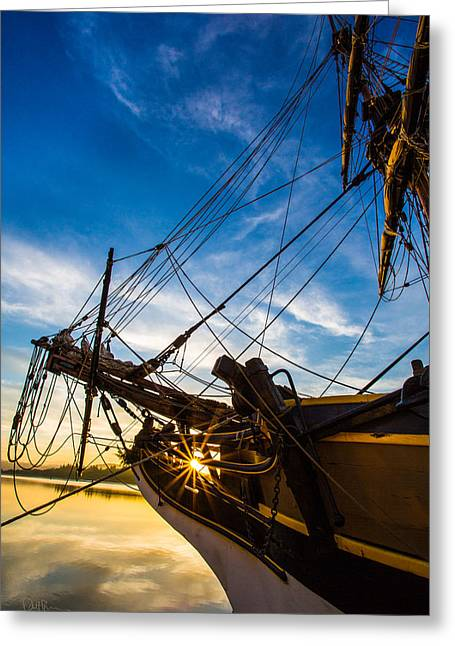 Lady Washington Greeting Cards - Sailboat Sunrise Greeting Card by Robert Bynum