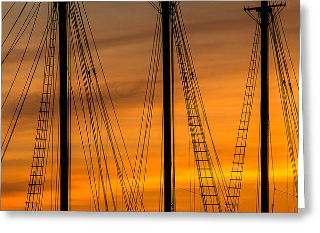 Clam Chowder Greeting Cards - Sailboat Sunrise Greeting Card by Steven Bateson
