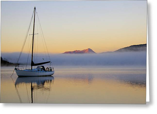 Sailboat Images Greeting Cards - Sailboat Sunrise Te Anau Greeting Card by Venetia Featherstone-Witty