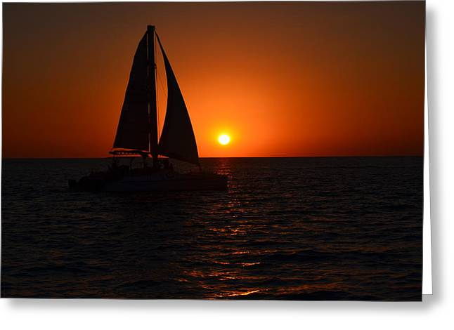 Yellow Sailboats Greeting Cards - Sailboat Sunset Greeting Card by James Petersen