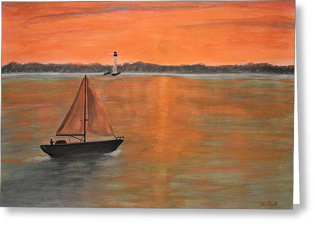Recently Sold -  - Snorkel Greeting Cards - Sailboat sunset Greeting Card by Ken Figurski