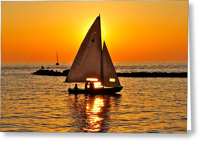 Sailboat Sunset Greeting Card by Frozen in Time Fine Art Photography