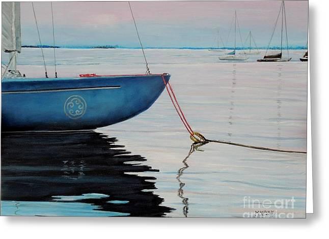 Blue Sailboats Greeting Cards - Sailboat tied Greeting Card by Marilyn  McNish