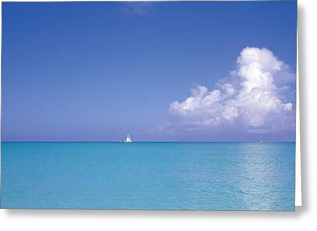 Ocean Sailing Greeting Cards - Sailboat, Turks And Caicos, Caribbean Greeting Card by Panoramic Images