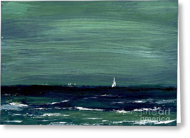 White Cloth Greeting Cards - Sailboats across a rough surf Ventura Greeting Card by Cathy Peterson