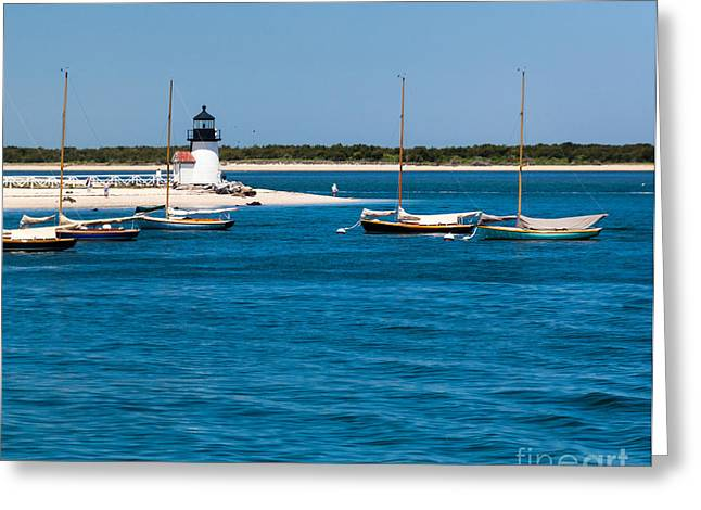 Blue Sailboats Greeting Cards - Sailboats and Brant Point Lighthouse Nantucket Greeting Card by Michelle Wiarda