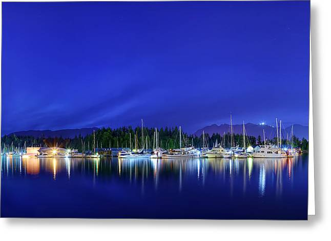 Mirror Greeting Cards - Sailboats At Night Greeting Card by Metro DC Photography