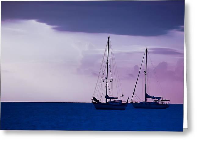 Sailboats At Sunset Greeting Card by Don Schwartz