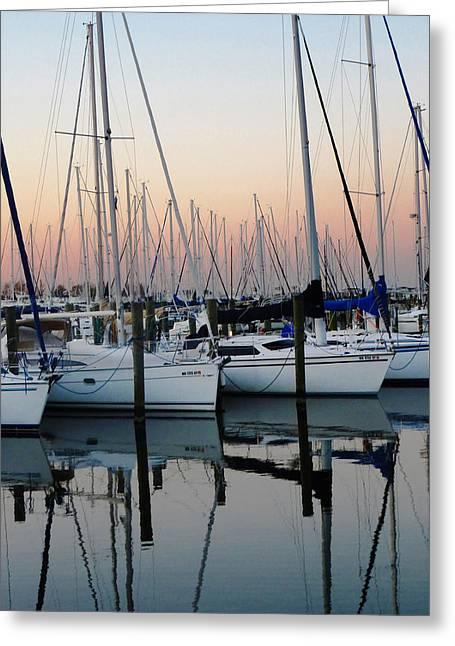 Masts Greeting Cards - Sailboats at Sunset Greeting Card by Karen Lambert
