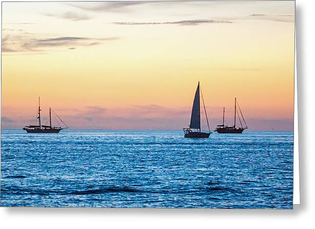 Recently Sold -  - Blue Sailboat Greeting Cards - Sailboats at Sunset off Key West Florida Greeting Card by Photographic Arts And Design Studio