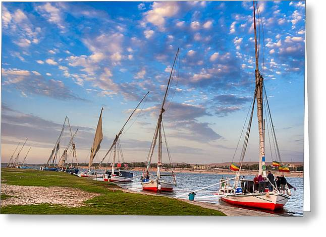River Nile Greeting Cards - Sailboats Beached on the Banks of the Nile Greeting Card by Mark Tisdale