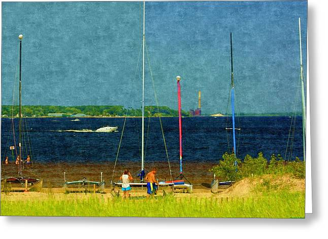 Sailboats In Harbor Drawings Greeting Cards - Sailboats Beached Greeting Card by Rosemarie E Seppala