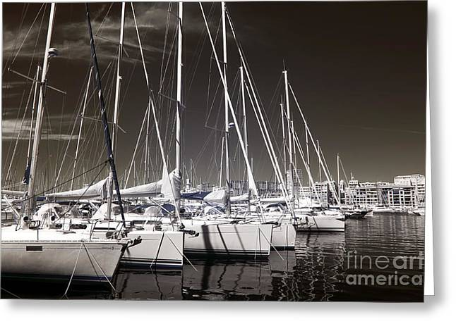 Sailboats Docked Greeting Card by John Rizzuto