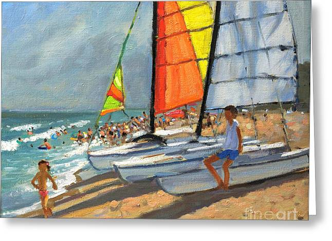 Sand And Sea Greeting Cards - Sailboats Garrucha Spain  Greeting Card by Andrew Macara
