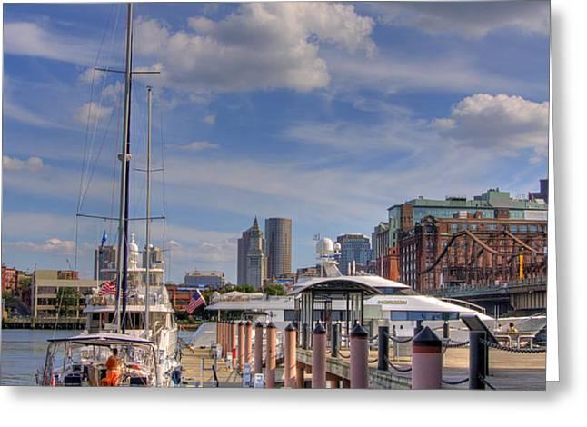Sailboats in Constitution Marina - Boston Greeting Card by Joann Vitali