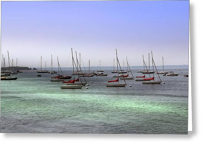 Ocean Landscape Greeting Cards - Sailboats in Harbor Greeting Card by Anthony Dezenzio