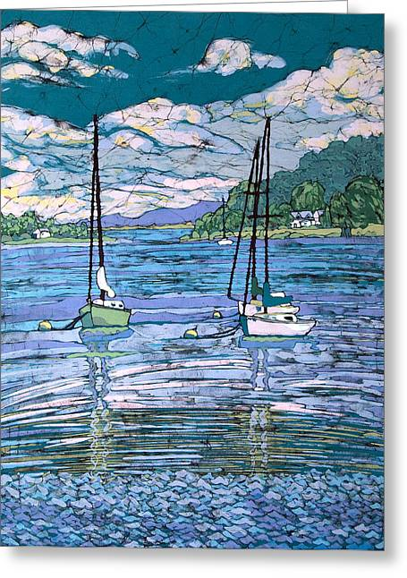 Transportation Tapestries - Textiles Greeting Cards - Sailboats In Harbor  Greeting Card by Terri Haugen
