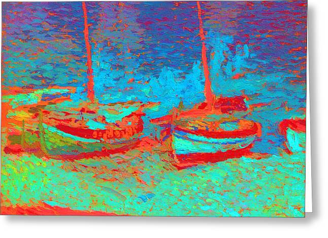 Sailboat Images Mixed Media Greeting Cards - Sailboats In Port Collioure IV Greeting Card by Henri Martin - L Brown