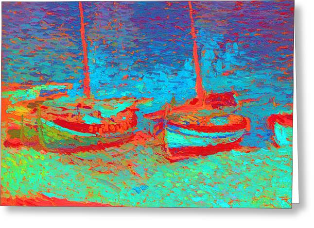 Sailboat Images Mixed Media Greeting Cards - Sailboats In Port Collioure III Painted Greeting Card by Henri Martin - L Brown