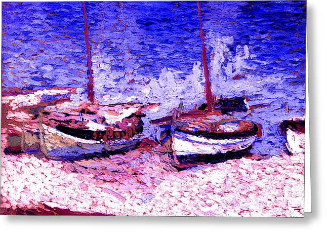 Sailboat Images Mixed Media Greeting Cards - Sailboats In Port Collioure IX Greeting Card by Henri Martin - L Brown